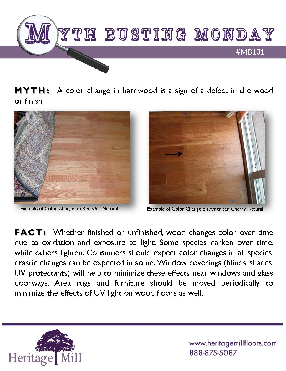 Myth A Color Change In Hardwood Is Sign Of Defect The Wood Or Finish