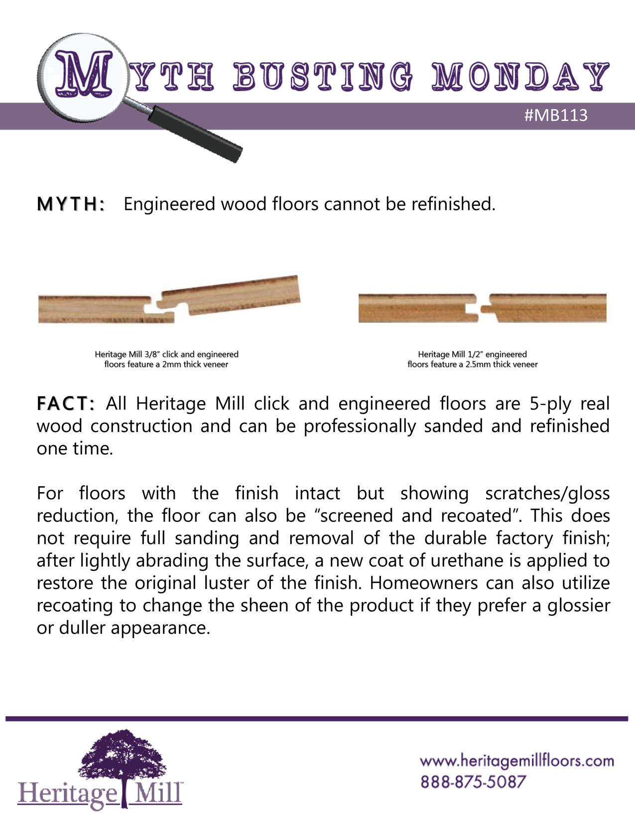 Engineered wood floors cannot be refinished.